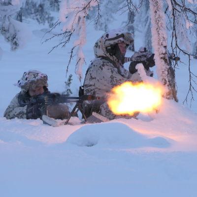Sotilaat harjoittelevat lumessa