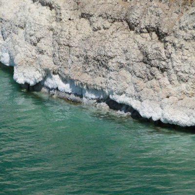 Salt deposits on the shore of Dead Sea in Jordan