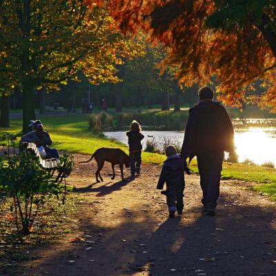 Familj på promenad vid strand i höstsolen.