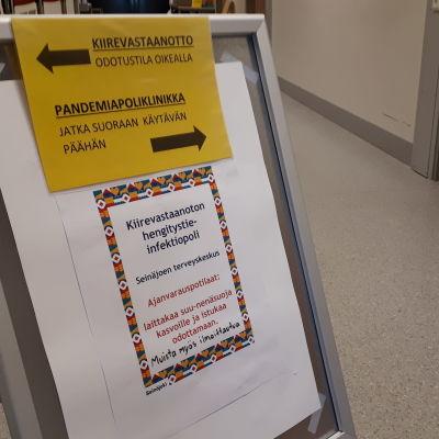Pandemiapoliklinikka Seinäjoen terveyskeskuksessa.