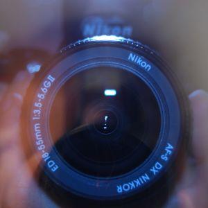 Fotografering, kameralins på nära håll.