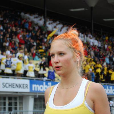 Julia Winberg startade för Korsholms Gymnasium i 4 x 100.