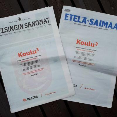 Imatran kaupungin mainokset Helsingin Sanomien ja Etelä-Saimaan etusivuilla