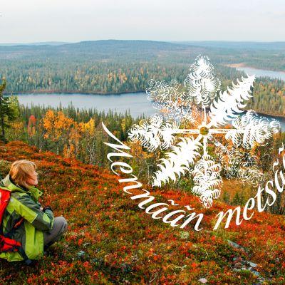 Nainen istuu mäen päällä ja katselee kaunista ruskamaisemaa.