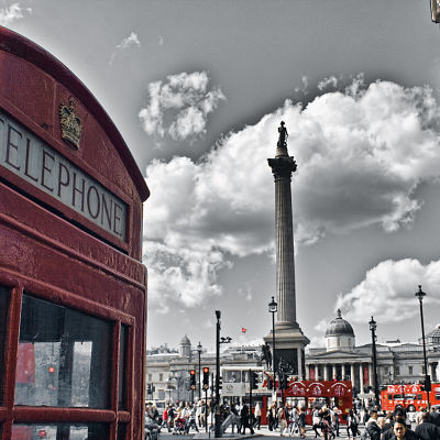 Telefonkiosk i London.