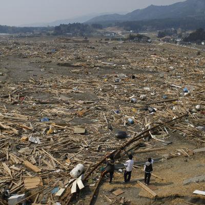 Några tonåringar tittar ut över sin ödelagda hemstad den 14 april 2011, en dryg månad efter tsunamin.