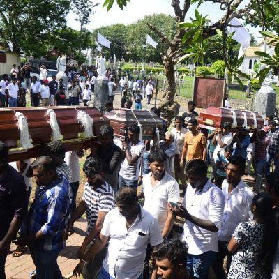Anhöriga bär kistor med offer från söndagens terrordåd i Sri Lanka