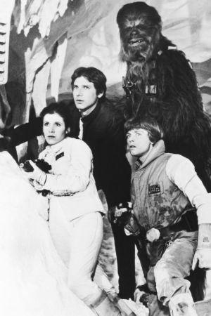 Star wars-karaktärerna Han Solo, Leia Organa, Luke Skywalker och Chewbacca.