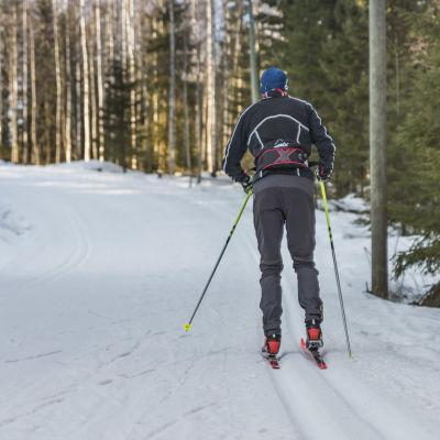 Hiihtäjä hiihtää ladulla.