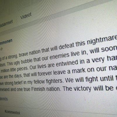 Olli Immonens Facebookinlägg.