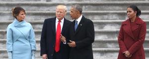 Melania Trump, Donald Trump, Barack Obama och Michelle Obama under presidentinstallationsceremonin 20 januari 2017.