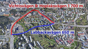 En kartbild som visar var Labbackavägen och Vichtis- och Hoplaksvägen går.