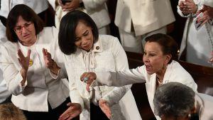 De demokratiska kvinnliga kongressledamöterna var klädda i vitt, i protest mot presidenten.