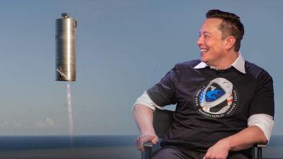 Elon Musk ja Starshipin koealus kuvakoosteessa.