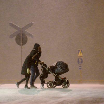 Snöyra i Vasa på nyårsafton.