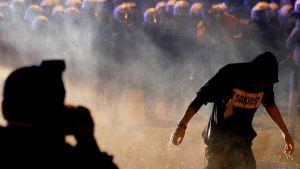 Tysk kravallpolis använder vattenkanoner för att skingra våldsamma demonstranter i Hamburg.