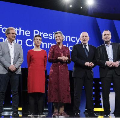 Från vänster: Jan Zahradil, Nico Cué, Ska Keller, Margrethe Vestager, Frans Timmermans, Manfred Weber.