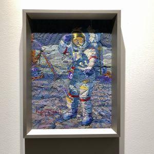 Målning i blått av astronaut på månen, till salu på Sotheby´s.