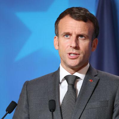 Ranskan presidentti Emmanuel Macron EU-huippukokouksessa Brysselissä 25. kesäkuuta 2021.