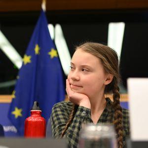Greta Thunberg i EU-parlamentet i Strasbourg den 16 april 2019