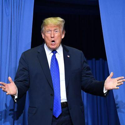 Donald Trump talar under kampanjmötet i Mississippi den 2 oktober.