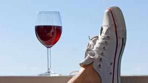 Vinglas med sko