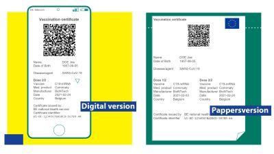 Coronaintyg med QR-kod - både digital version och pappersversion.