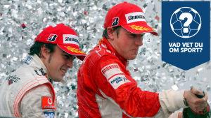 Kimi Räikkönen och Fernando Alonso firar.