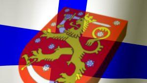 finlands flagga med vapnet i mitten