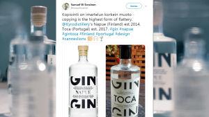 Twitter upptäckte plagiat på Napue Gin.