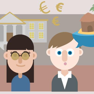 Illustration på en man och en kvinna, ett fint hus, en paradisö och pengar.