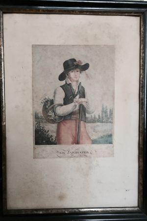 En tavla som föreställer en trädgårdsmästare från 1800-talet.