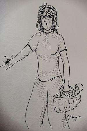 En teckning av en dam med svampkorg som upptäcker en fästing på sin arm.