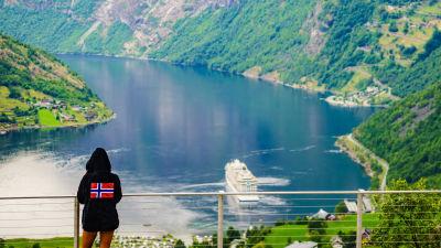 Människa som ser ut över en fjord.