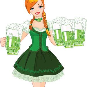 Tecknad irländsk tjej med grön klänning och fyra gröna ölstop i händerna.