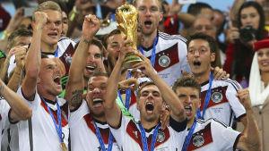 Tyskland firar segern i fotbolls-VM 2014.
