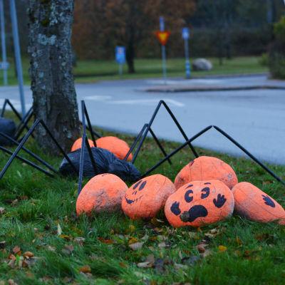 Halloweenpumpor och två spindlar dekorerar en gräsplätt invid en korsning.