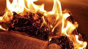 Kirja palaa. Kirjaa poltetaan.