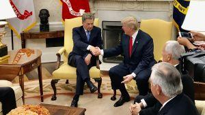 Handskakning mellan preisndetnerna Sauli Niinistö och Donald Trump i Vita huset