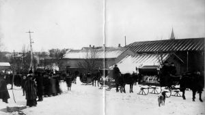 Begravningståget 8.2.1918 för Jonas Jauckens och Eino Alapohja.
