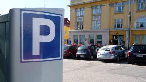 parkeringsautomat vid Krämaretorget i Borgå