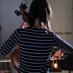 Tyttö soittaa selloa, kuva takaapäin