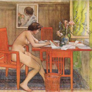 """Carl Larssons tavla """"Modell skriver vykort"""" från år 1906."""