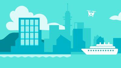 Piirretty kuva. Turkoosi kaupunki tautalla. Edessä iso laiva.