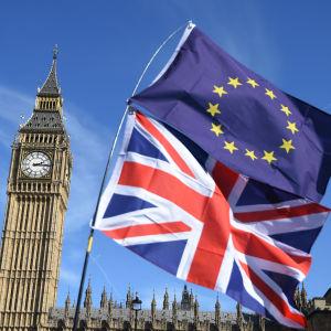 Europeiska och brittiska flaggan med Big Ben i bakgrunden
