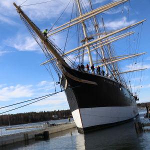 Stålbarken Pommern i Mariehamn.