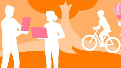 Valkoisia, piirrettyjä hahmoja. Yksi pyöräilee, kaksi seisoo näyttöjen kanssa. Oranssi maisema taustalla.