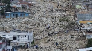 Spår efter jordskreden i Mocoa, Colombia. 3.4.2017