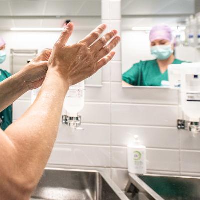 Carita Vuorenpää ja Lotta Lantto leikkausalihoitajat pesevät käsiään ennen leikkaussaliin menoa.