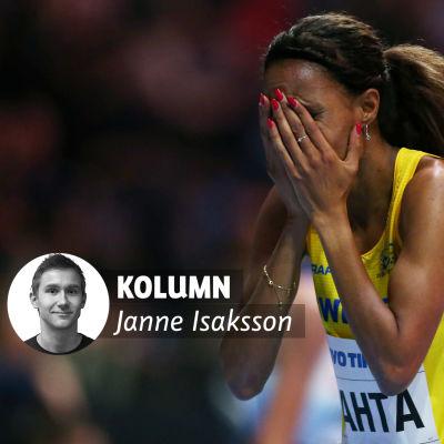 Meraf Bahta med Janne Isakssons kolumnvinjett.
